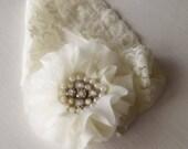 Destash SALE - Ivory Headband - Ivory Hair Accessory - Baby Hair Jewelry - Pearl Rhinestone Headband - Ivory Wedding - Flower Girl Headband