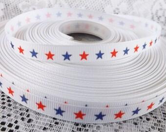 Star ribbon 3/8 stars grosgrain ribbon red white blue ribbon