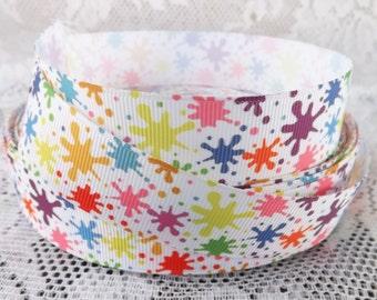 Paint splat grosgrain ribbon 1 in splatter printed Grosgrain ribbon splatter ribbon