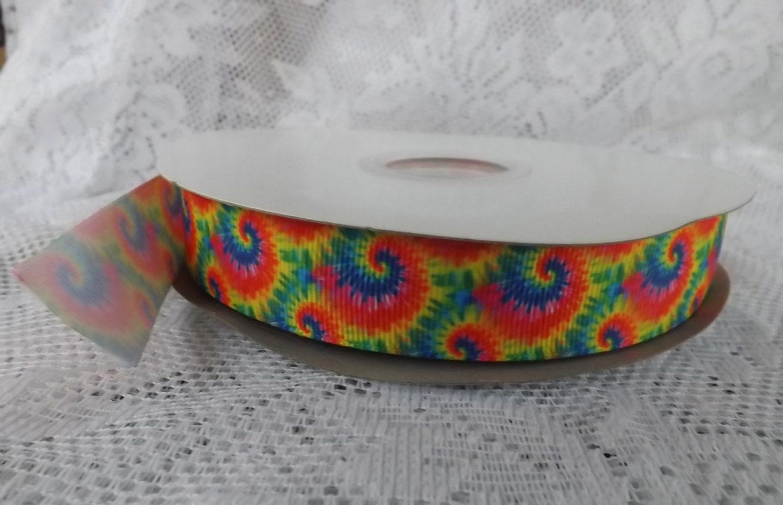 rainbow ribbon rainbow tie dye ribbon grosgrain ribbon 7 8