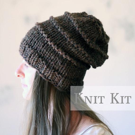Knitting Pattern Kits : KNITTING KIT Hat Knit Kit Hat Knitting Pattern Kit With