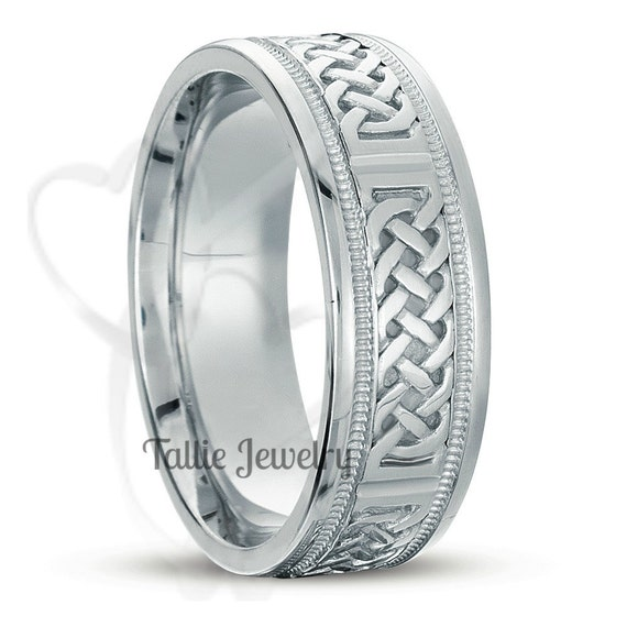 Mens Wedding Rings18K White Gold Celtic Wedding RingsWomen