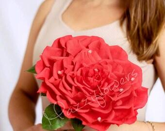 Bridal bouquet,bridesmaids bouquet,big rose,giant flower,wedding bouquet,paper flowers,paper flower rose