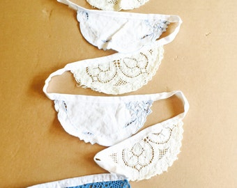 Gorgeous wedding bunting vintage crocheted doilies blue& white