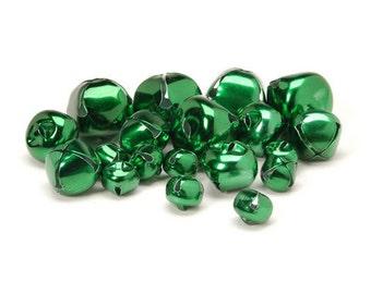 Jingle Bells - Green Matte - Assorted Sizes - 19 pieces