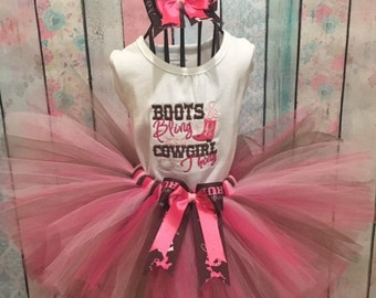 Boots and bling Cowgirl tutu set.  Personalization is included in your order. Custom made to your theme.