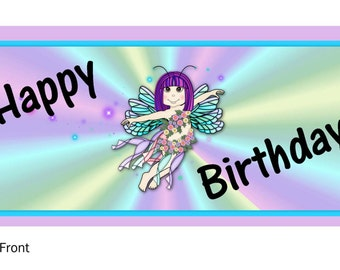 Happy Birthday FAIRY Baggie Topper, PDF PRINTABLE   pn#1002