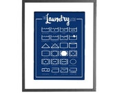 The Laundry Guide - Guide to Laundry Care Symbols - Laundry Room Art - 30 COLOR CHOICES - Printable Wall Art
