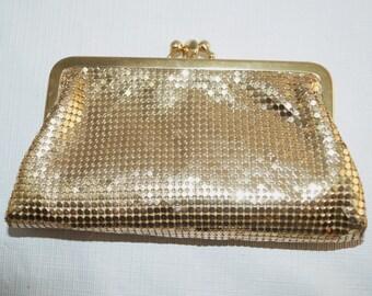 Vintage Whiting  Davis Gold Mesh Makeup Bag Wallet