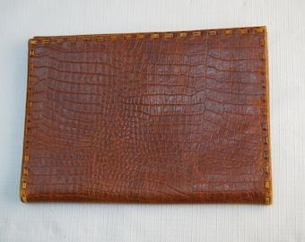 "Vintage Genuine Croc Crocodile Alligator Leather Oversized Wallet 5x7"""