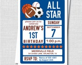 Sports Birthday Invitation - General Sports Themed Party - Digital Design or Printed Invitations - FREE Shipping