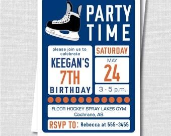 Hockey Birthday Invitation Ice Hockey Winter Party Teen