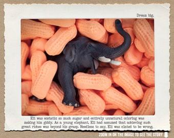8x10 Elephant Art Print •Circus Peanut Wall Decor • Humorous Animal Print • Circus Animal Story • Office Decor • Gift Under 20