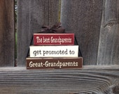 Grandparents Mini stacker blocks-The best Grandparents get promoted  to Great-Grandparents