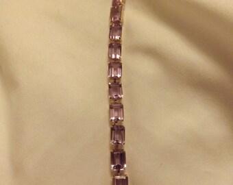 "10k Yellow Gold 22ct Square Cut Amethyst Tennis 8"" Bracelet-On Sale Now!"