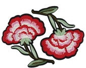 2 Iron On Embroidered Flowers Patches Appliques, Iron On Flowers Patches
