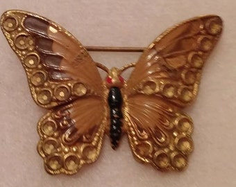 Vintage - Costume Handpainted Butterfly Pin