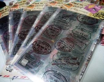 Vintage Style Transparent Postmark Stamp Multifunction Sticker / Label