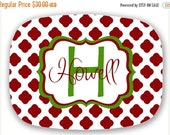 LABOR DAY SALE Personalized Melamine Platter -  christmas tray housewarming gift