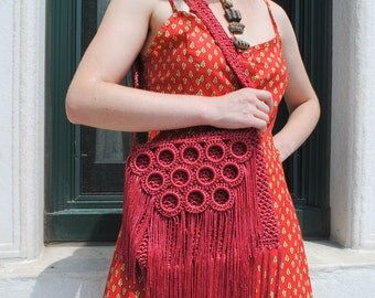 Red Fringe Crochet Purse