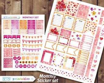 Watercolor Printable planner stickers Printable Stickers, flowers, Monthly sticker set -  341 For use with ERIN CONDREN LIFEPLANNER™