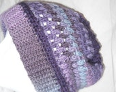 Soft Slouchy Hat in Lavender / Purple / Gray - Size Medium/ Large - Puff Stitch Style