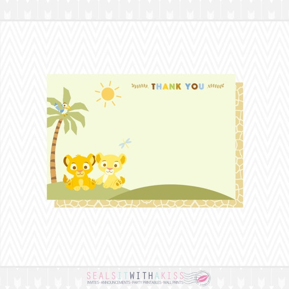 baby lion king baby shower thank you card and matching backside