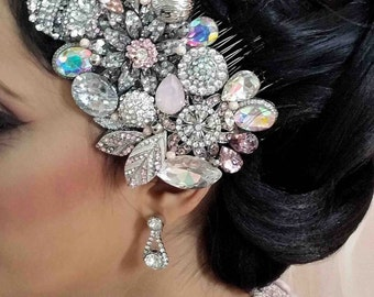 Swarovski crystal Blush Pink and Silver grey AB Classic Gatsby Vintage rose Bridal Hair Comb Piece Slide