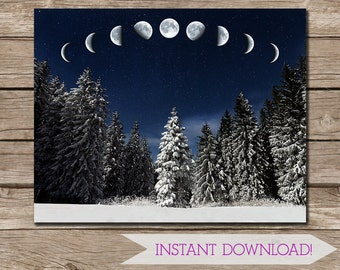 Winter Forest Moon Phases Wall Art - 11x14 inches landscape - Printable Art - Pagan - Nature - Forest - INSTANT DIGITAL DOWNLOAD