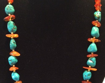 Vintage turquoise and faux amber necklace