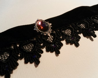 Gothic VELVET and black LACE choker with blue-purple rhinestones  - goth - victorian - burlesque