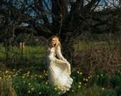 vintage boho 70s gunne sax dress white cream wedding gown // prairie hippie gypsy bohemian maxi // 1970s flower child summer festival dress