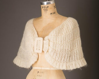 1950s Cream Mohair Shawl