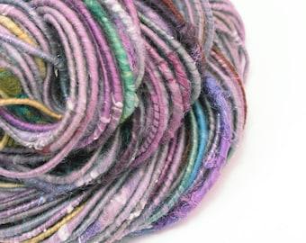 Multi Texture Yarn, Handspun Yarn, Art Yarn, Corespun Yarn, Purple Yarn, Lavender, Mixed Media, Weaving, Chunky Yarn, Bulky Yarn, WATERLILY