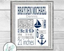 Nautical Baby Gift, Nautical Birth Stats, Nautical Birth Announcement, Nautical Theme Nursery, Navy and Grey Nursery, Anchor Nursery Art
