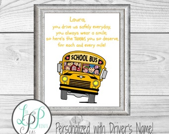 Bus Driver Gift, School Bus Driver Print, Gift for driver,end of year gift , End of School Year Gift, Gift for school bus driver gift