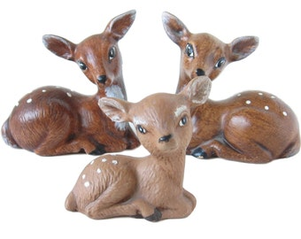 Vintage Deer Figurines Ceramic Deer Family Miniature Deer Ceramic Fawn Figurine Woodland Creatures Woodland Figurines Ceramic Figurines
