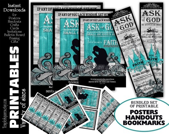 Printable Posters and Bookmarks LDS YW Young Women 2017 Mutual Theme Ask of God Ask in Faith Presidency Handouts Crafts Activities Bundle
