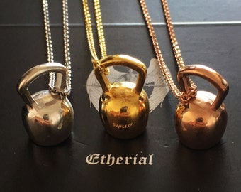 Sterling Silver Kettlebell Weight Charm Kettle Bell Necklace Fitness Weightlifting Gym Crossfit Jewelry Gym Jewellery Pink Gold Yellow Gold
