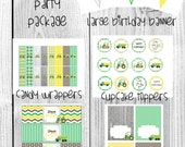 Tractor Construction Birthday Printable Digital Files Party Package - INSTANT DOWNLOAD