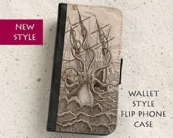 iPhone Case (all models) - Kraken - Giant Octopus Vintage Illustration - Wallet flip case -  Samsung Galaxy S4,S5,S6,S7Edge,S8 & more