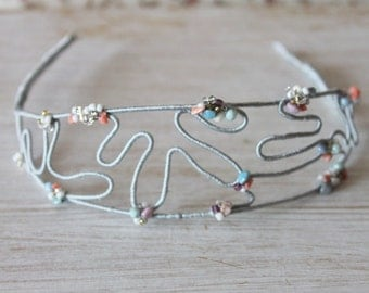 Tiara - grey headband with embroidered beads