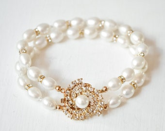 Gold Freshwater Pearl Cuff Bracelet, Gold Bridal Cuff Bracelet, Gold Wedding Bracelet, Bridal Bracelet, Wedding Jewellery