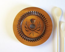 "8.75"" Wood Cookie Mold Scottish Thistle - Vintage Kitchen Wall Decor - Stanley Whyte Product Made in Scotland - Shortbread Mold Butter Mold"