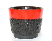 Fat Lava plant pot Jopeko west german pottery planter red flower pot mid century modern black cactus pot retro indoors pot cover