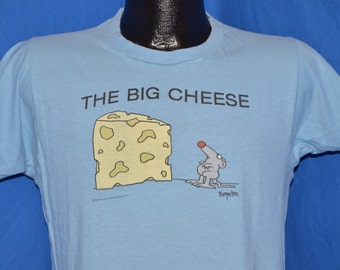 80s The Big Cheese Mouse Boynton Cartoon Blue Vintage t-shirt Medium