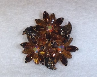 Large Dark Brown  and Light Brown Stone  Brooch with Leaves