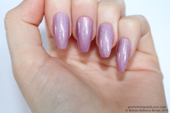 Holographic Coffin Nails Pastel Pink Holographic Nails