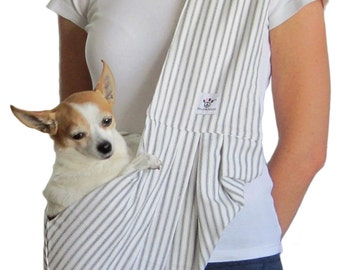 Dog Sling - Gray and White Stripe