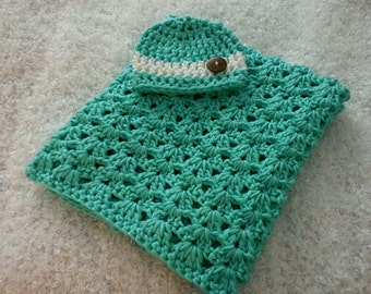 Baby Shower Gift Set Sea Green Baby Blanket Seagreen Nursery Decor Unisex Baby Photo Prop Soft Squishy Crochet Knit Blanket & Baby Hat